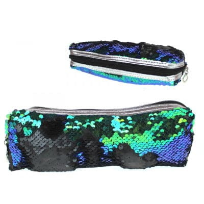 Sequins Pencil case or Cosmetic bag 22 x 7 cm Navy Blue and Green