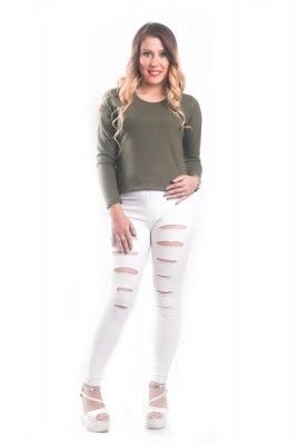 WOMEN T-SHIRT FULL SLEEVES Round Neck Army green